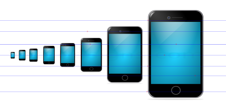 smart phone Icons with different sizes