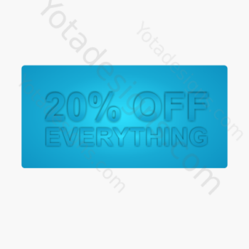 20% for shop, a graphic with blue background