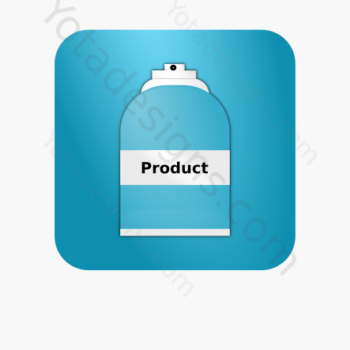 graphic of spray icon with aqua background