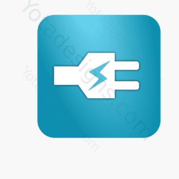 icon of white electric plug with aqua background