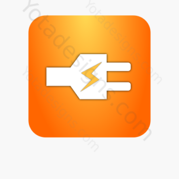 icon of white electric plug with orange background