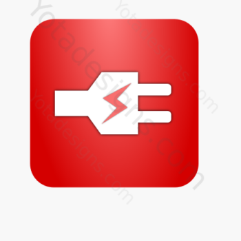 icon of white electric plug with green background