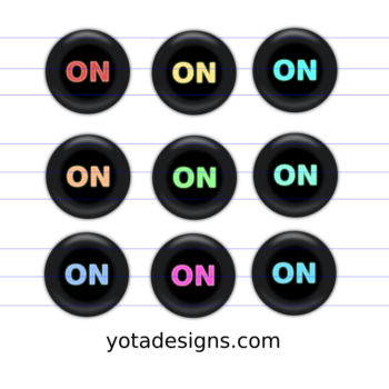 icons of on button with different colors